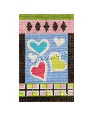 blue, pink and green hearts with green and pink border