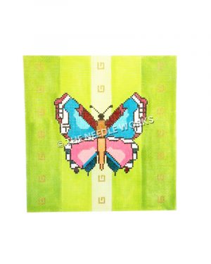 blue and pink butterfly on green background