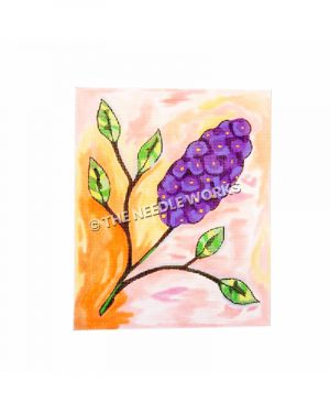 purple lilac with pink and peach background