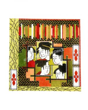 faces of Japanese women on green, red and yellow block background