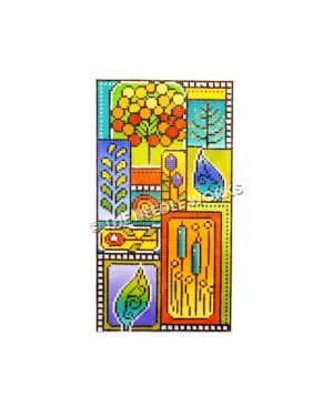 plants and flowers on colorful block background