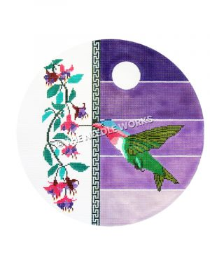 hummingbird with purple striped background and vine with pink and purple flowers