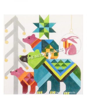 colorful bears with pink bunny ornament and silver trees