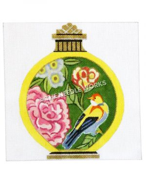 yellow jar with bird and flowers decorations