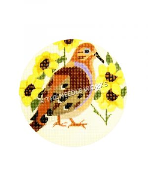 brown and orange dove with yellow flowers