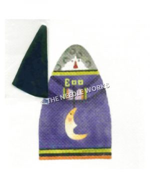 witch wearing purple dress with Boo written holding crescent moon