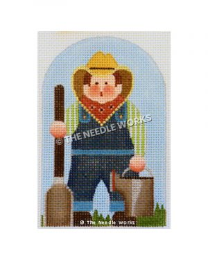 farmer carrying shovel and water pitcher