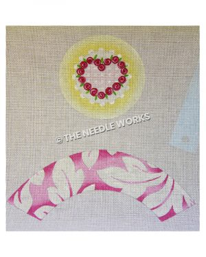 heart with pink rose border and pink and white decorative border