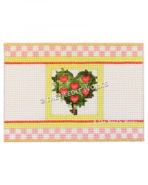 green heart plant with pink heart decorations and pink and white border