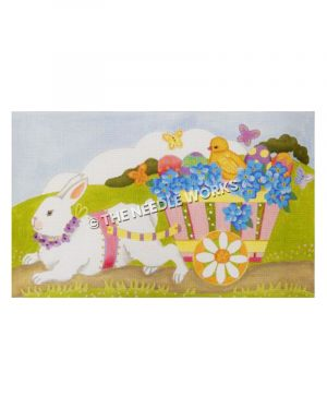 white rabbit pulling pink cart filled with blue flowers, Easter eggs, and chick