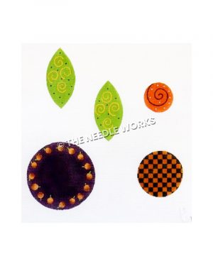 purple, orange decorative circles and green leaves