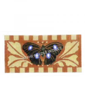 black and purple butterfly with brown and yellow decorative background