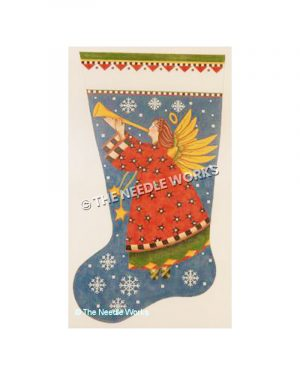 blue stocking with angel in red dress blowing horn