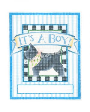 scottie dog with It's a Boy in blue above and blue and white striped border