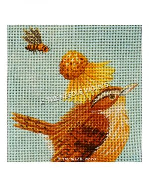 brown and yellow bird with sunflower and bee