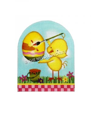 yellow chick painting Easter egg