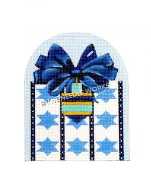 white and blue gift with Stars of David pattern and dreidle decoration