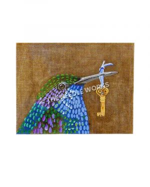 blue, green and purple bird carrying key with blue ribbon in mouth