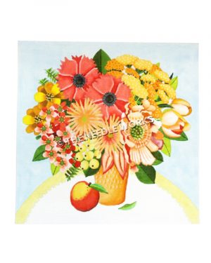 peach with orange and yellow flower bouquet