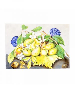 yellow pears and morning glories in bowl