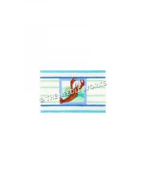 red lobster with blue and white striped border