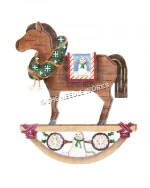 brown rocking horse with wreath and snowman decorations