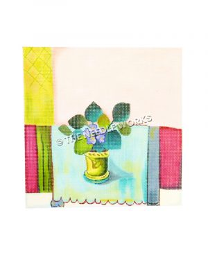 plant with purple flowers with blue, white and yellow squared background