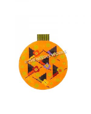 round orange ornament with six witch hats