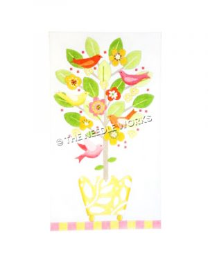 tree in yellow pot with pink, orange and yellow birds