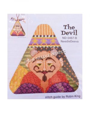 devil-themed ornament triangle shape with patchwork background behind face of devil