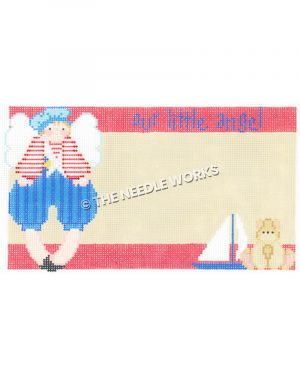 angel in sailor dress with our little angel written in blue on pink border and bunny sitting next to sailboat