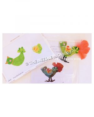 green bird with light green wing with orange and pink flower