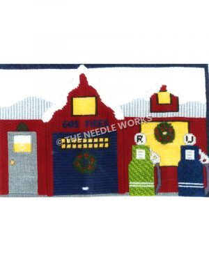 red old fashioned gas station with snow-covered roof with green and blue pumps