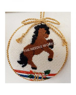white ornament in gold trim with brown horse and black hair rearing up