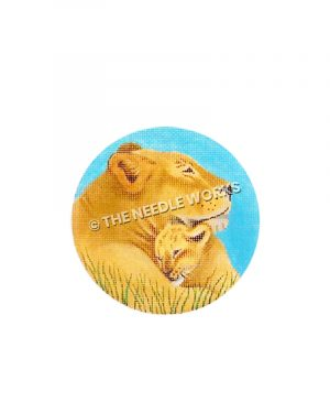 yellow lioness and cub with blue background