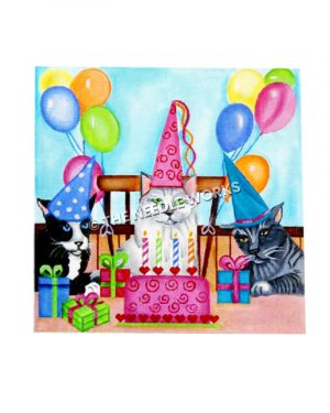 three cats wearing hats at birthday party with pink cake, presents, and balloons