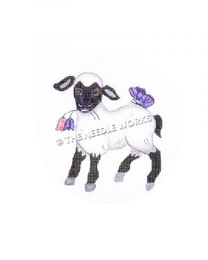 black and white spring lamb with pink and purple flowers in mouth and purple butterfly resting on back