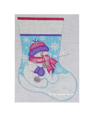 stocking with snowman sitting on snow with pink and purple hat and scarf with snowflakes on blue sky on background