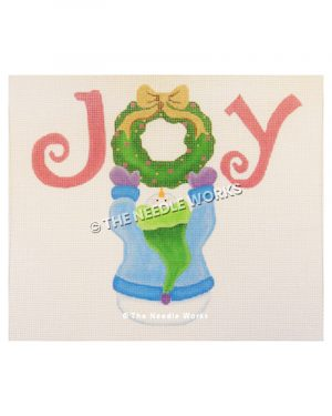 snowman in blue sweater, purple gloves and green hat holding wreath in the middle of word JOY written in pink