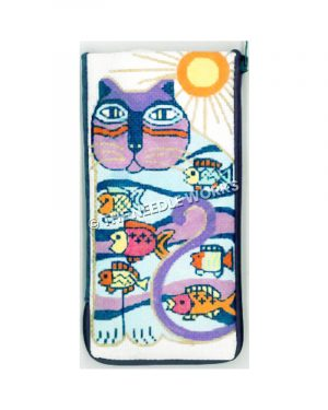 eyeglass case with abstract cat in purple, blue, orange pattern with fish and yellow and orange sun