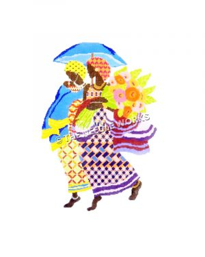 Caribbean women in multi-colored patterned dress carrying orange, gold, and pink flowers and blue umbrella