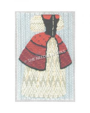Victorian red, black and gold dress on blue background