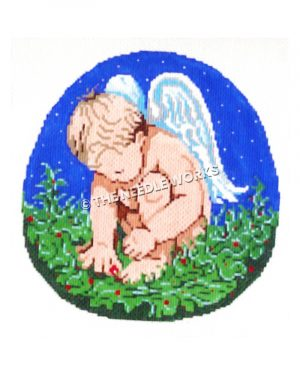 cherub sitting on holly branch with blue sky and stars