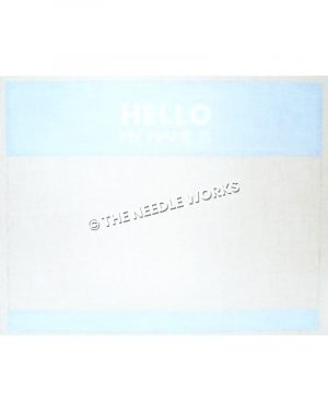 blue and white name tag with Hello My Name Is written in white