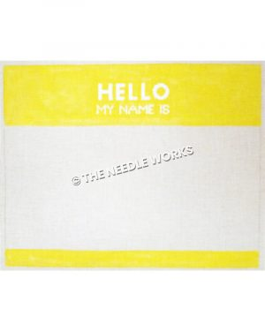 yellow and white name tag with Hello My Name Is written in white