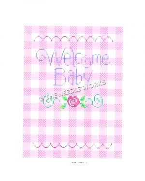 Welcome Baby written in purple on pink and white plaid background