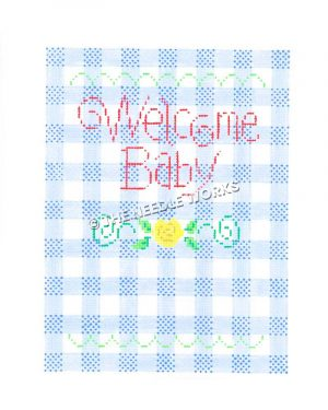 Welcome Baby written in red on blue and white plaid background