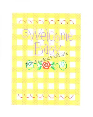 Welcome Baby written in purple on yellow and white plaid background