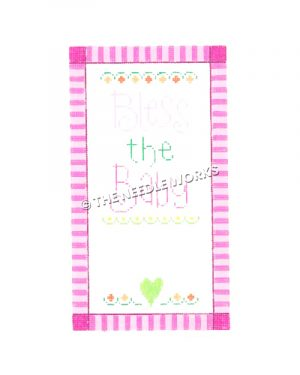 Bless the Baby written in pink and green with hearts on white background and pink striped border