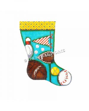 sports theme stocking with several sports balls on blue background and yellow checkered trim